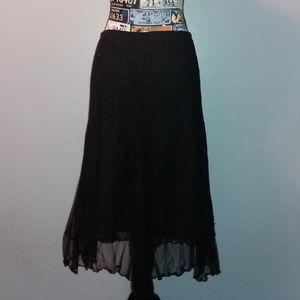 Max Studio Black Lace Overlay Pleated Midi Skirt